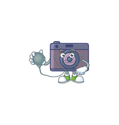 Retro camera as a doctor working costume with tool vector