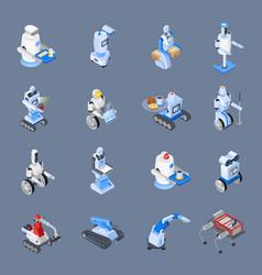 Robot professions icon set vector