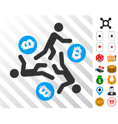 running persons for bitcoin icon with bonus vector image