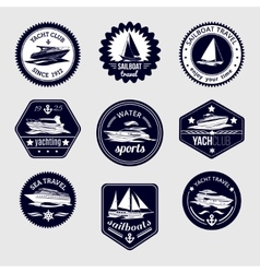 Sailboats travel labels icons set vector
