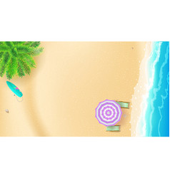 Seashore and sandy beach top view of summer beach vector