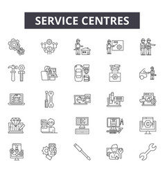 Service centres line icons signs set vector