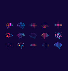 set abstract dots and lines brain logotypes vector image