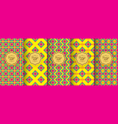 set ikat vintage seamless backgrounds for vector image
