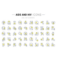 Set line icons aids and hiv vector