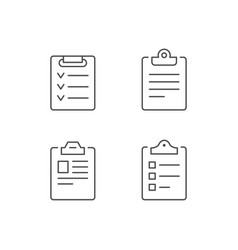 Set line icons clipboard vector