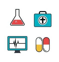 Set medical care icons vector