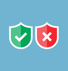 shields and check marks red and green shield with vector image