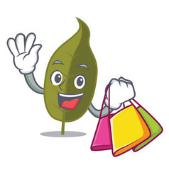 Shopping bay leaf character cartoon vector