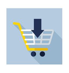 Shopping cart with an arrow icon vector