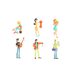 shopping people set smiling young women and men vector image