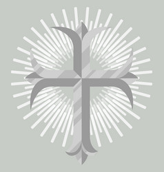 silver christian cross icon isolated vector image