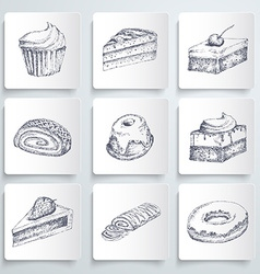 Sketch cake icons vector