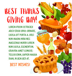 Thanksgiving day poster with autumn harvest symbol vector