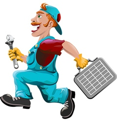 The hurrying plumber vector image