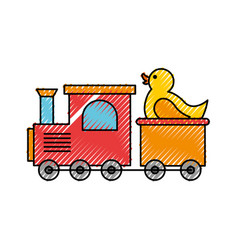 Train toy with duck vector
