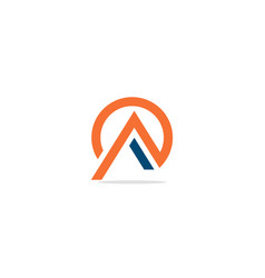 Triangle a initial round company logo vector