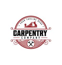 Vintage logo for wood workingcarpentry logo vector