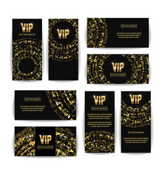 Vip invitation card set party premium vector