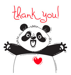 with joyful panda who says - thank vector image