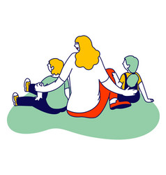 Woman with children sitting on floor rear view vector