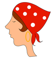Woman with kerchief on white background vector