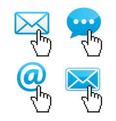 Contact - envelope email with cursor hand vector image