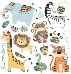 Jungle Tribal Animals vector image