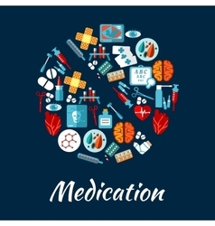 Pill symbol with flat icons of medication vector image vector image