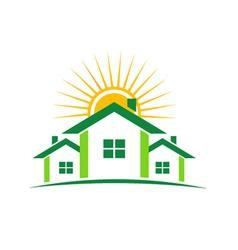 Three houses and sun vector