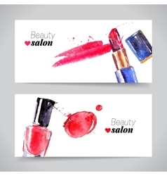 Watercolor cosmetics banner set beauty vector image vector image