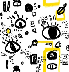 Black white and yellow graphic pattern vector image