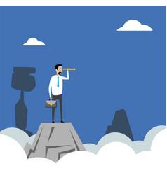businessman standing on top vector image