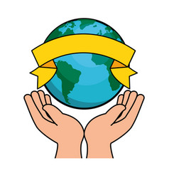 hands human protection with world planet vector image