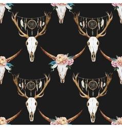 Watercolor pattern with deer head vector image vector image