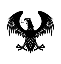 Black eagle with extended wings heraldic icon vector image vector image