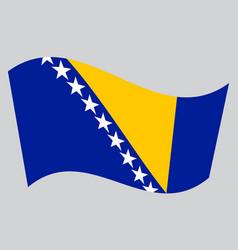 Flag of bosnia and herzegovina wavy gray backdrop vector