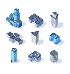 isometric business city center buildings set vector image vector image