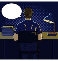Man working at night pop art style vector