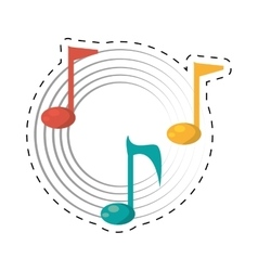 note musical melody sound dotted line vector image