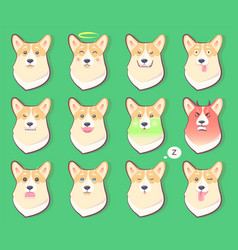 set of dogs emotions cute puppy symbol year 2018 vector image vector image