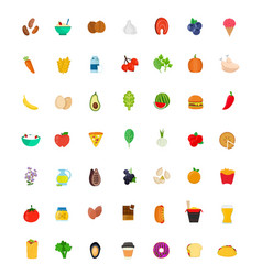 49 food and drink icon set flat vector image vector image