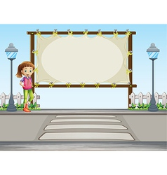A girl standing near an empty signage vector image vector image