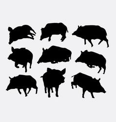 boar mammal wild animal silhouette vector image vector image