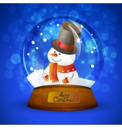 Christmas snow globe with snowman vector image vector image