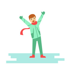 happy young man having fun during winter holidays vector image