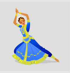 a woman dancing indian dance in vector image