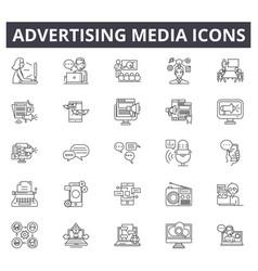 advertising media line icons editable stroke vector image