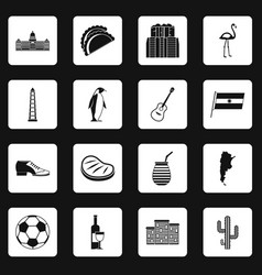 Argentina travel items icons set squares vector