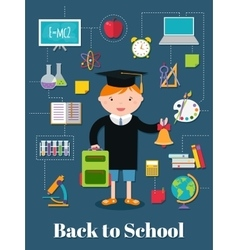 Back to school background with school supplies vector image